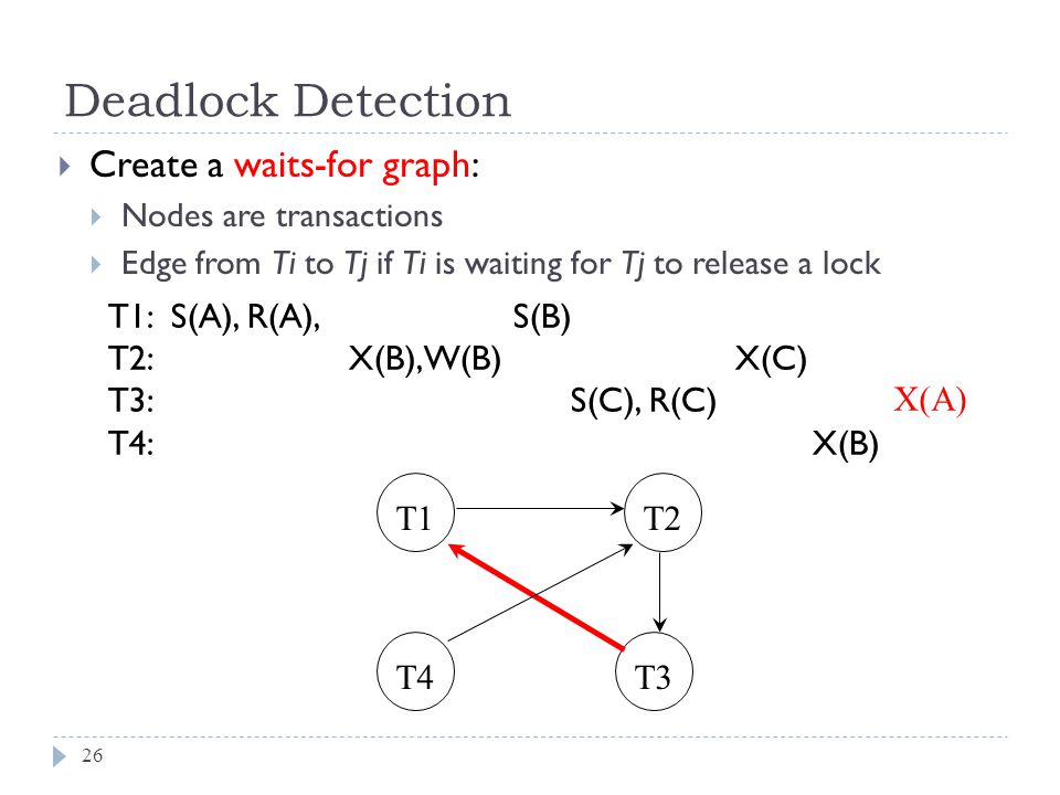 Deadlock Detection  Create a waits-for graph:  Nodes are transactions  Edge from Ti to Tj if Ti is waiting for Tj to release a lock T1: S(A), R(A), S(B) T2: X(B),W(B) X(C) T3: S(C), R(C) T4: X(B) T1T2 T4T3 26 X(A)