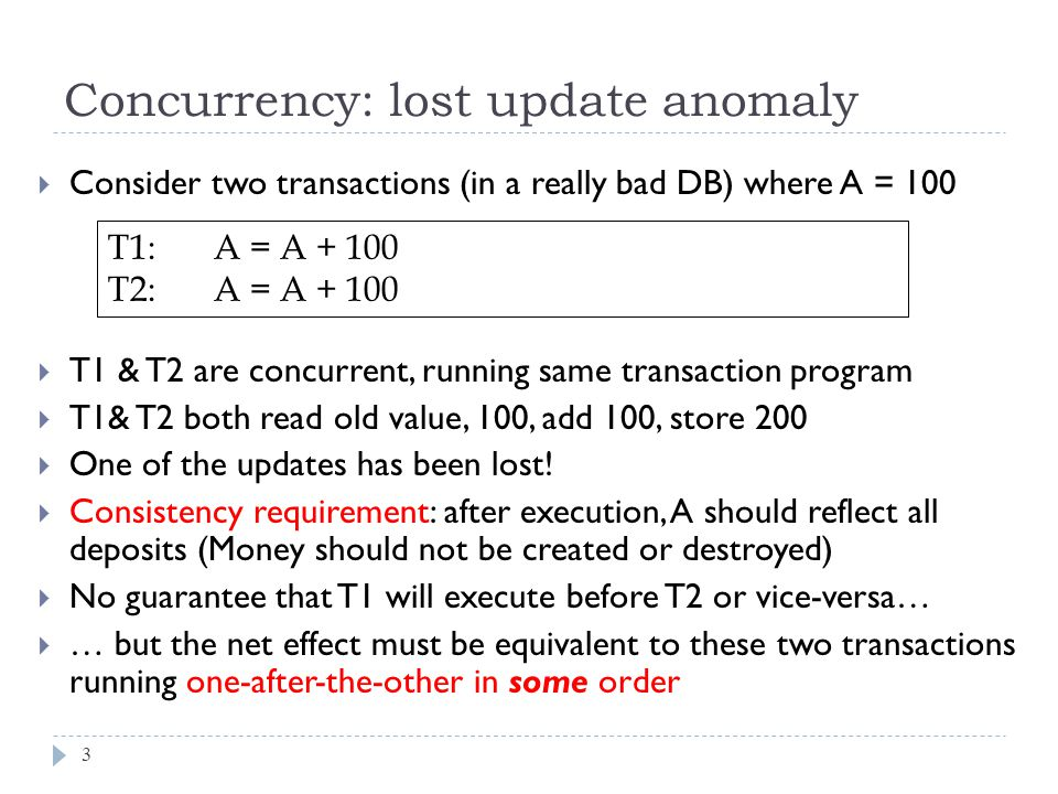  Consider two transactions (in a really bad DB) where A = 100  T1 & T2 are concurrent, running same transaction program  T1& T2 both read old value, 100, add 100, store 200  One of the updates has been lost.