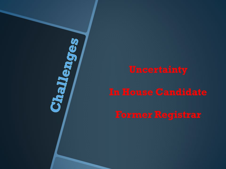 Uncertainty In House Candidate Former Registrar