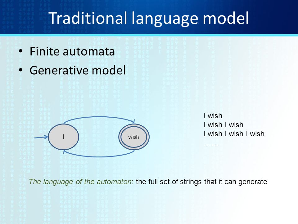 Traditional language model Finite automata Generative model I wish I wish I wish I wish I wish …… The language of the automaton: the full set of strings that it can generate