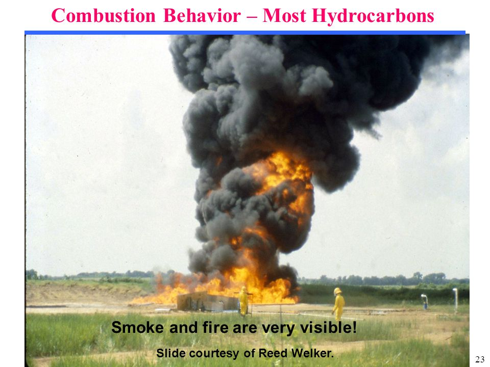 23 Combustion Behavior – Most Hydrocarbons Slide courtesy of Reed Welker.