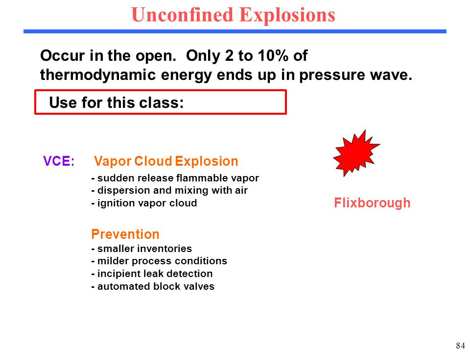 84 Occur in the open. Only 2 to 10% of thermodynamic energy ends up in pressure wave.