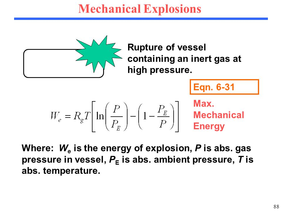 88 Mechanical Explosions Rupture of vessel containing an inert gas at high pressure.