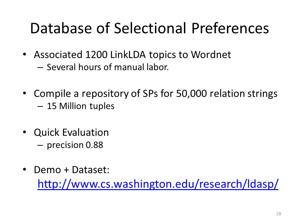 Database of Selectional Preferences Associated 1200 LinkLDA topics to Wordnet – Several hours of manual labor.