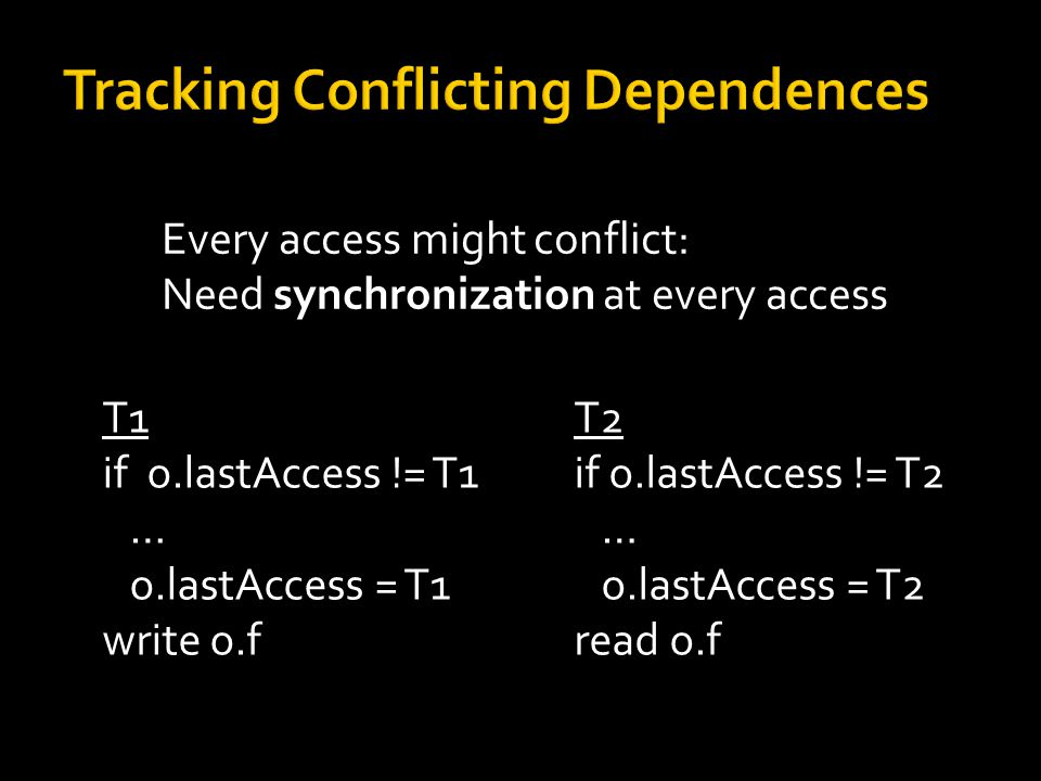 Every access might conflict: Need synchronization at every access Synchronization  conflicting access T1 if o.lastAccess != T1 … o.lastAccess = T1 write o.f T2 if o.lastAccess != T2 … o.lastAccess = T2 read o.f