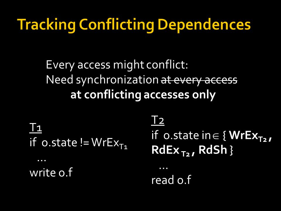 Every access might conflict: Need synchronization at every access at conflicting accesses only T1 if o.state != WrEx T1 … write o.f T2 if o.state in  { WrEx T2, RdEx T2, RdSh } … read o.f