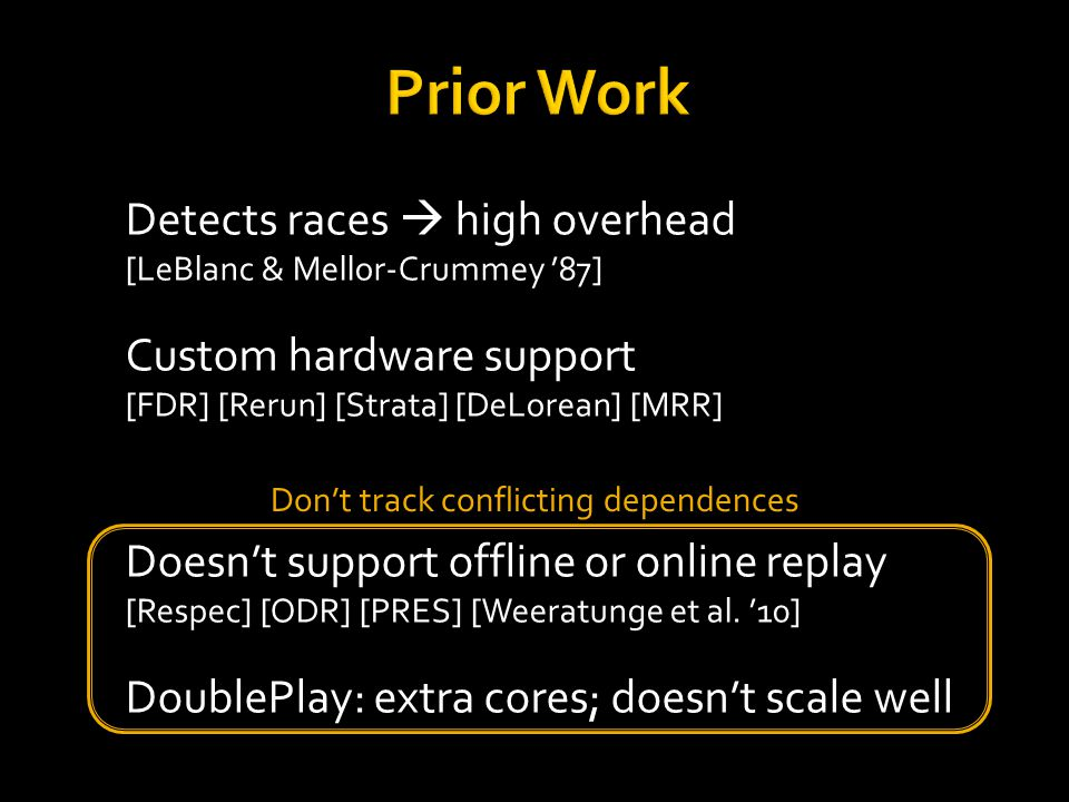 Detects races  high overhead [LeBlanc & Mellor-Crummey '87] Custom hardware support [FDR] [Rerun] [Strata] [DeLorean] [MRR] Doesn't support offline or online replay [Respec] [ODR] [PRES] [Weeratunge et al.