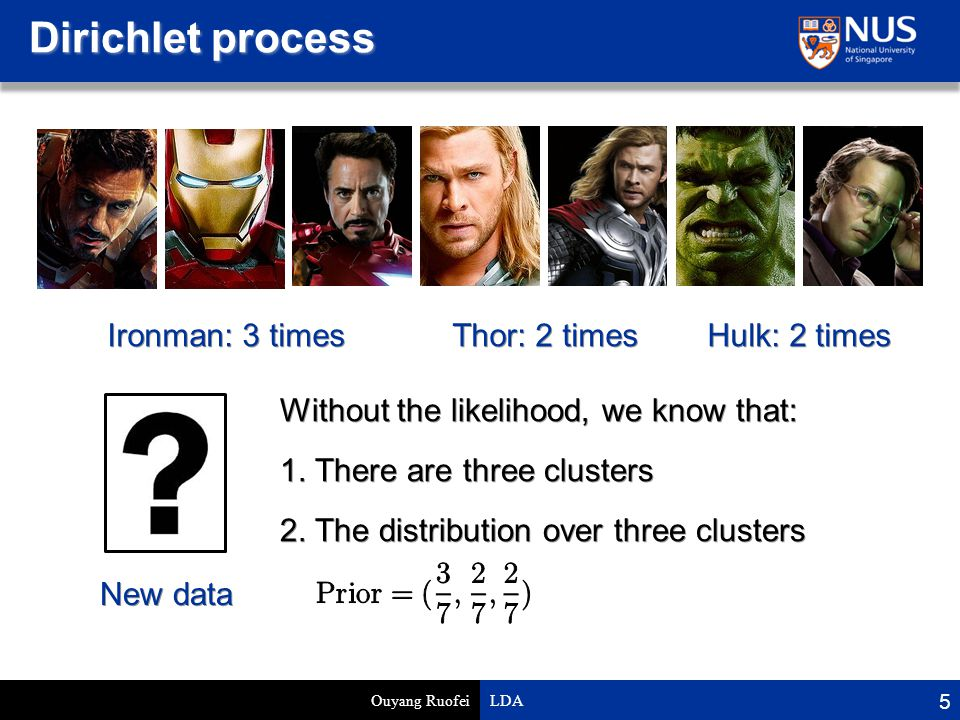 Dirichlet process Ouyang Ruofei LDA 5 Ironman: 3 times Thor: 2 times Hulk: 2 times Without the likelihood, we know that: 1.