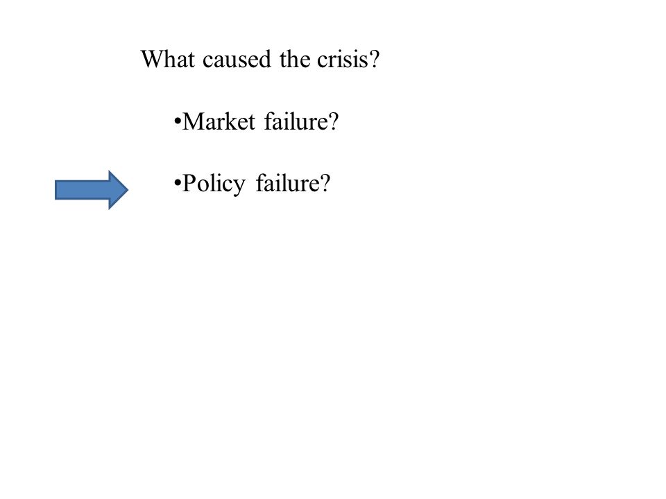 What caused the crisis Market failure Policy failure