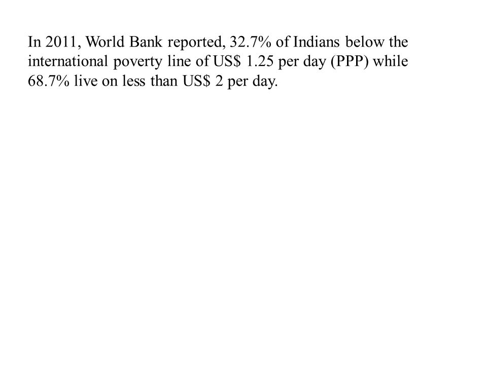 In 2011, World Bank reported, 32.7% of Indians below the international poverty line of US$ 1.25 per day (PPP) while 68.7% live on less than US$ 2 per day.