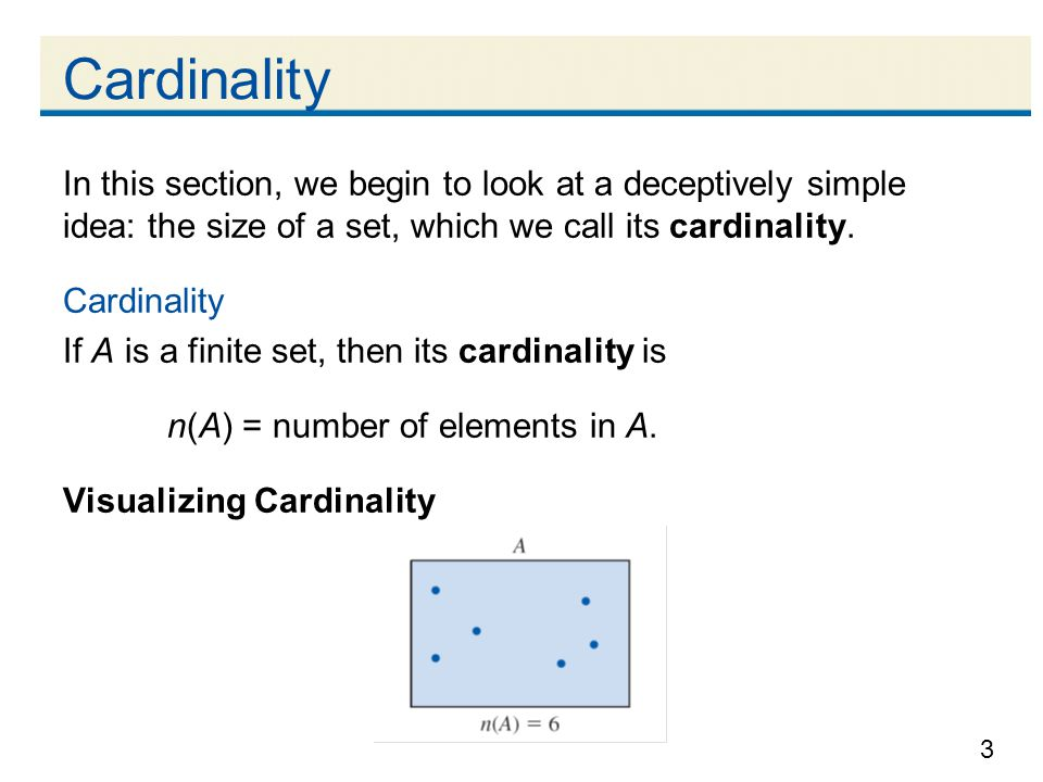 3 In this section, we begin to look at a deceptively simple idea: the size of a set, which we call its cardinality.