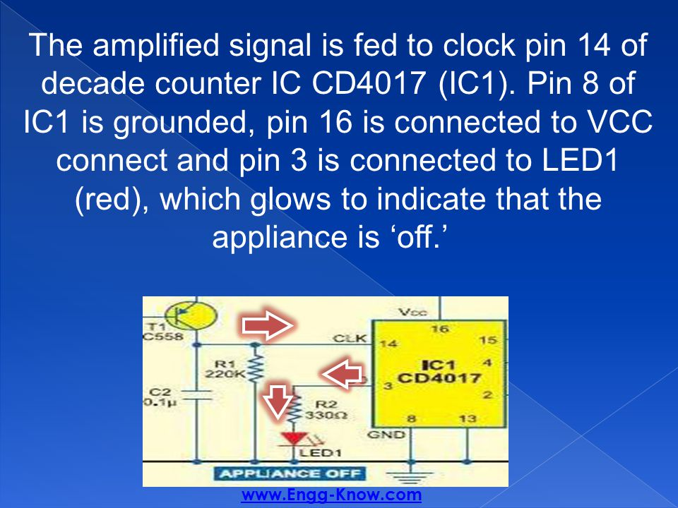 The amplified signal is fed to clock pin 14 of decade counter IC CD4017 (IC1).