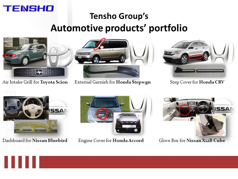 Tensho Group's Automotive products' portfolio Air Intake Grill for Toyota ScionExternal Garnish for Honda Stepwgn Dashboard for Nissan Bluebird Step Cover for Honda CRV Engine Cover for Honda AccordGlove Box for Nissan X12B Cube