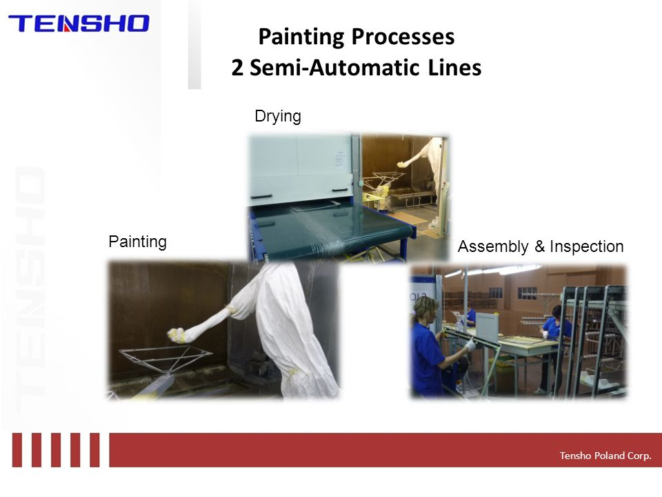 Tensho Poland Corp. Painting Processes 2 Semi-Automatic Lines Painting Drying Assembly & Inspection