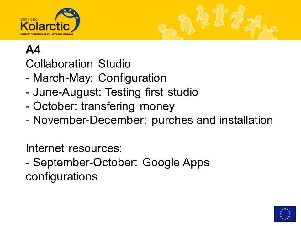 A4 Collaboration Studio - March-May: Configuration - June-August: Testing first studio - October: transfering money - November-December: purches and installation Internet resources: - September-October: Google Apps configurations
