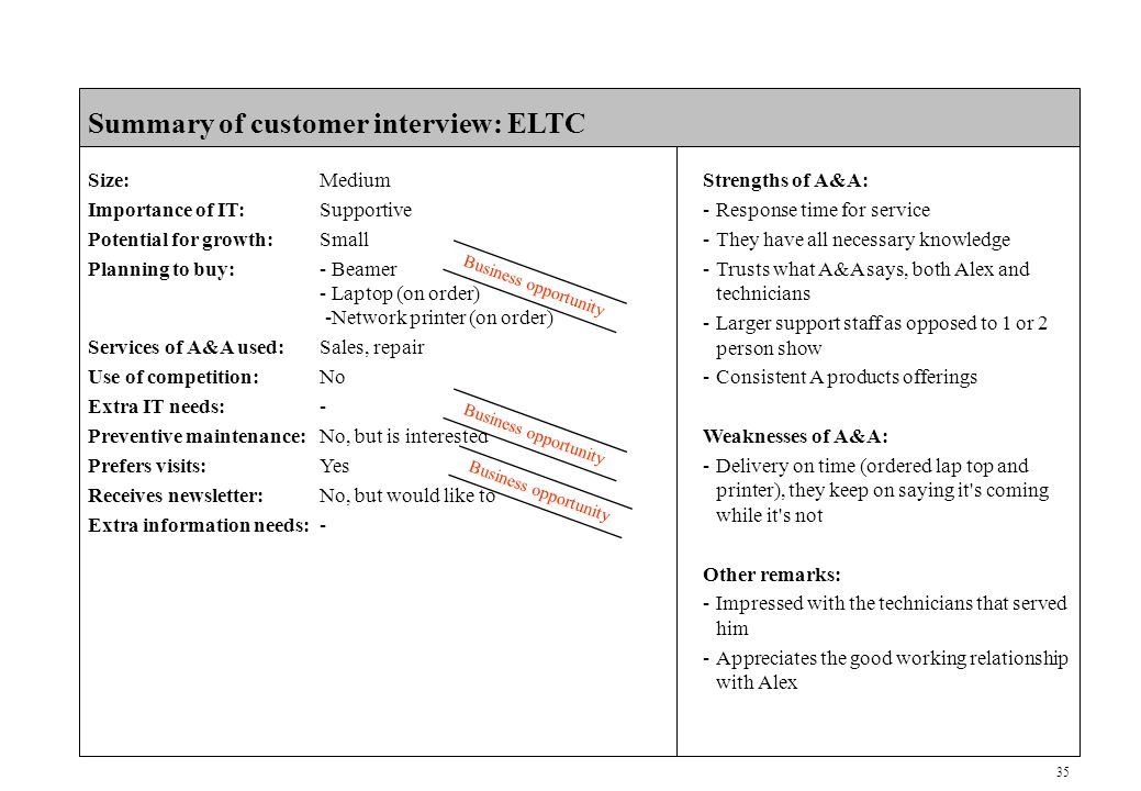 35 CONFIDENTIAL Summary of customer interview: ELTC Size:Medium Importance of IT:Supportive Potential for growth:Small Planning to buy:- Beamer - Laptop (on order) -Network printer (on order) Services of A&A used:Sales, repair Use of competition:No Extra IT needs:- Preventive maintenance:No, but is interested Prefers visits:Yes Receives newsletter:No, but would like to Extra information needs:- Business opportunity Strengths of A&A: -Response time for service -They have all necessary knowledge -Trusts what A&A says, both Alex and technicians -Larger support staff as opposed to 1 or 2 person show -Consistent A products offerings Weaknesses of A&A: -Delivery on time (ordered lap top and printer), they keep on saying it s coming while it s not Other remarks: -Impressed with the technicians that served him -Appreciates the good working relationship with Alex Business opportunity