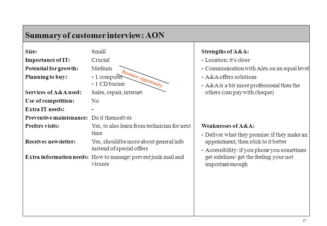 47 CONFIDENTIAL Summary of customer interview: AON Size:Small Importance of IT:Crucial Potential for growth:Medium Planning to buy:- 1 computer - 1 CD burner Services of A&A used:Sales, repair, internet Use of competition:No Extra IT needs:- Preventive maintenance:Do it themselves Prefers visits:Yes, to also learn from technician for next time Receives newsletter:Yes, should be more about general info instead of special offers Extra information needs:How to manage/ prevent junk mail and viruses Business opportunity Strengths of A&A: -Location: it s close -Communication with Alex on an equal level -A&A offers solutions -A&A is a bit more professional then the others (can pay with cheque) Weaknesses of A&A: -Deliver what they promise: if they make an appointment, then stick to it better -Accessibility: if you phone you sometimes get sidelines/ get the feeling your not important enough