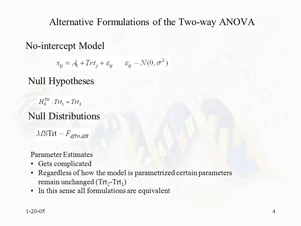 1-20-054 Alternative Formulations of the Two-way ANOVA No-intercept Model Parameter Estimates Gets complicated Regardless of how the model is parametrized certain parameters remain unchanged (Trt 2 -Trt 1 ) In this sense all formulations are equivalent Null Hypotheses Null Distributions