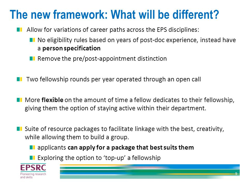 The new framework: What will be different.