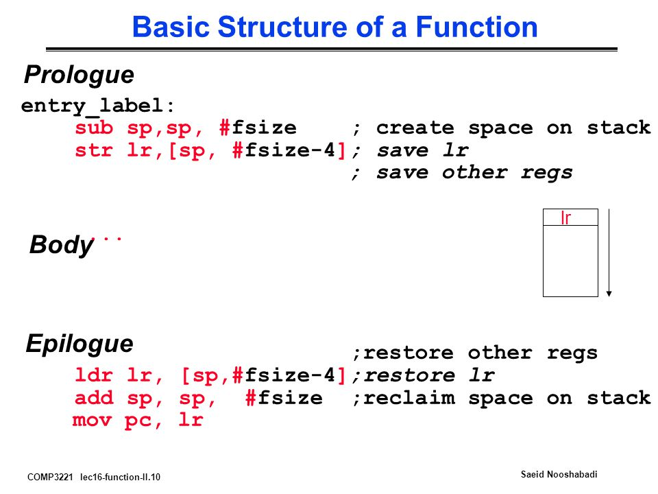 COMP3221 lec16-function-II.10 Saeid Nooshabadi Basic Structure of a Function entry_label: sub sp,sp, #fsize ; create space on stack str lr,[sp, #fsize-4]; save lr ; save other regs...
