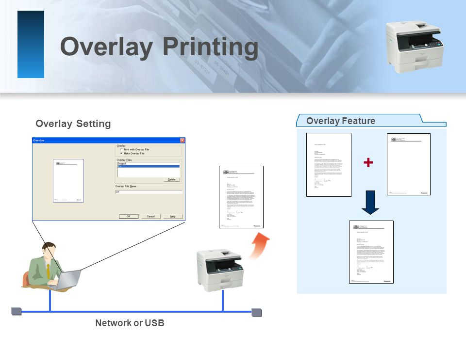 Overlay Printing Overlay Setting Network or USB + Overlay Feature