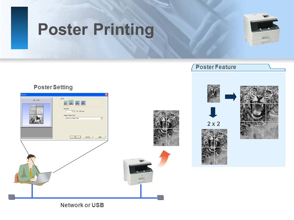 Poster Printing Poster Setting Network or USB Poster Feature 2 x 2