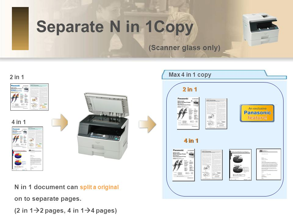 Separate N in 1Copy (Scanner glass only) Max 4 in 1 copy 2 in 1 4 in 1 2 in 1 4 in 1 N in 1 document can split a original on to separate pages.