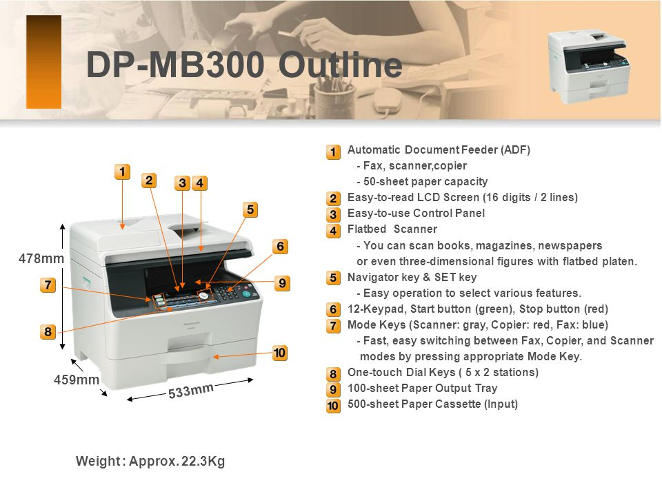 DP-MB300 Outline Automatic Document Feeder (ADF) - Fax, scanner,copier - 50-sheet paper capacity Easy-to-read LCD Screen (16 digits / 2 lines) Easy-to-use Control Panel Flatbed Scanner - You can scan books, magazines, newspapers or even three-dimensional figures with flatbed platen.