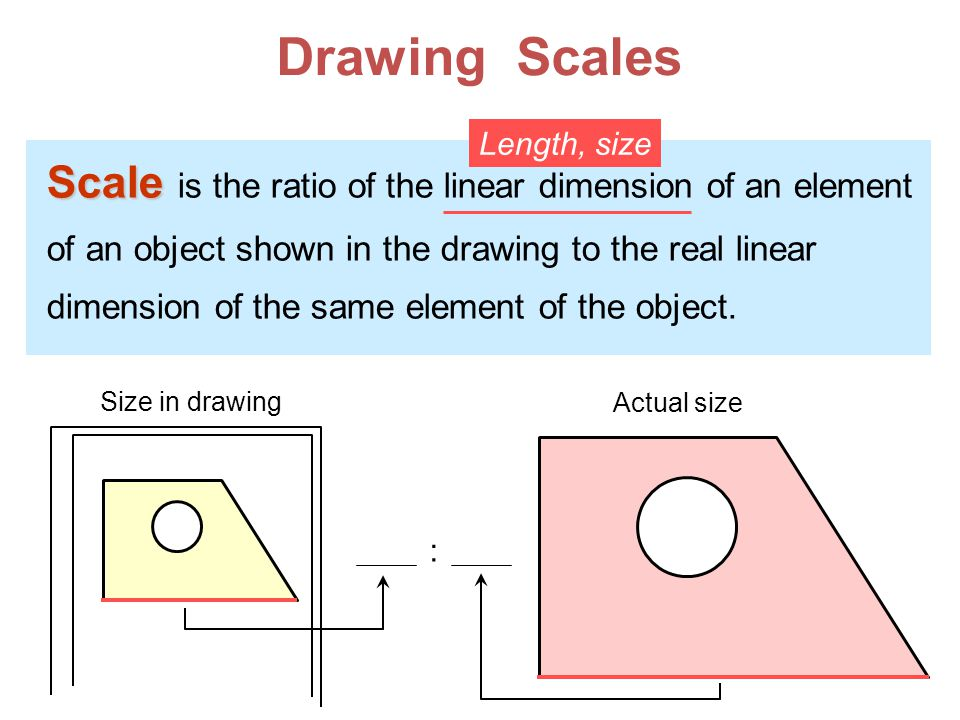 Drawing Scales Scale Scale is the ratio of the linear dimension of an element of an object shown in the drawing to the real linear dimension of the same element of the object.