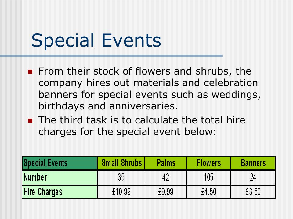 Special Events From their stock of flowers and shrubs, the company hires out materials and celebration banners for special events such as weddings, birthdays and anniversaries.