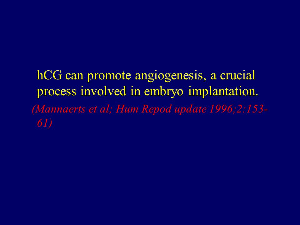 hCG can promote angiogenesis, a crucial process involved in embryo implantation.