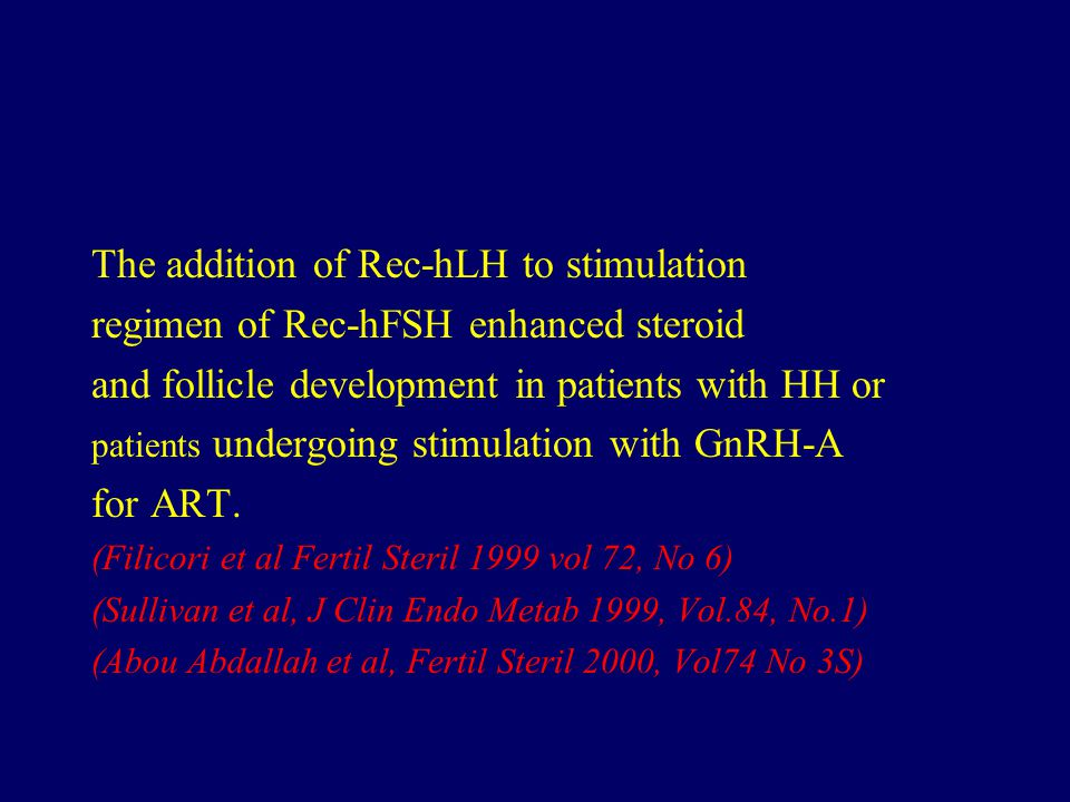 The addition of Rec-hLH to stimulation regimen of Rec-hFSH enhanced steroid and follicle development in patients with HH or patients undergoing stimulation with GnRH-A for ART.