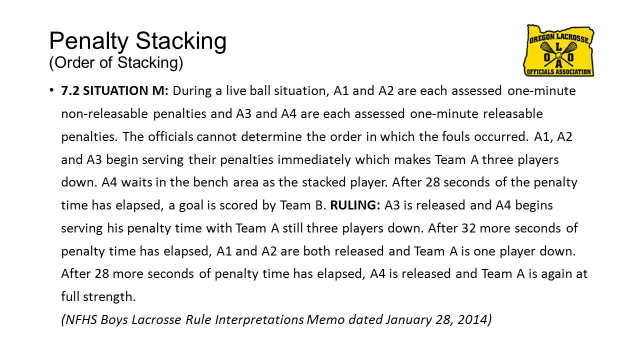 Penalty Stacking (Order of Stacking) 7.2 SITUATION M: During a live ball situation, A1 and A2 are each assessed one-minute non-releasable penalties and A3 and A4 are each assessed one-minute releasable penalties.