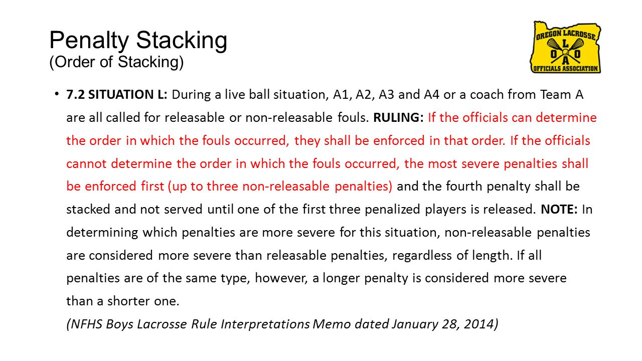 Penalty Stacking (Order of Stacking) 7.2 SITUATION L: During a live ball situation, A1, A2, A3 and A4 or a coach from Team A are all called for releasable or non-releasable fouls.
