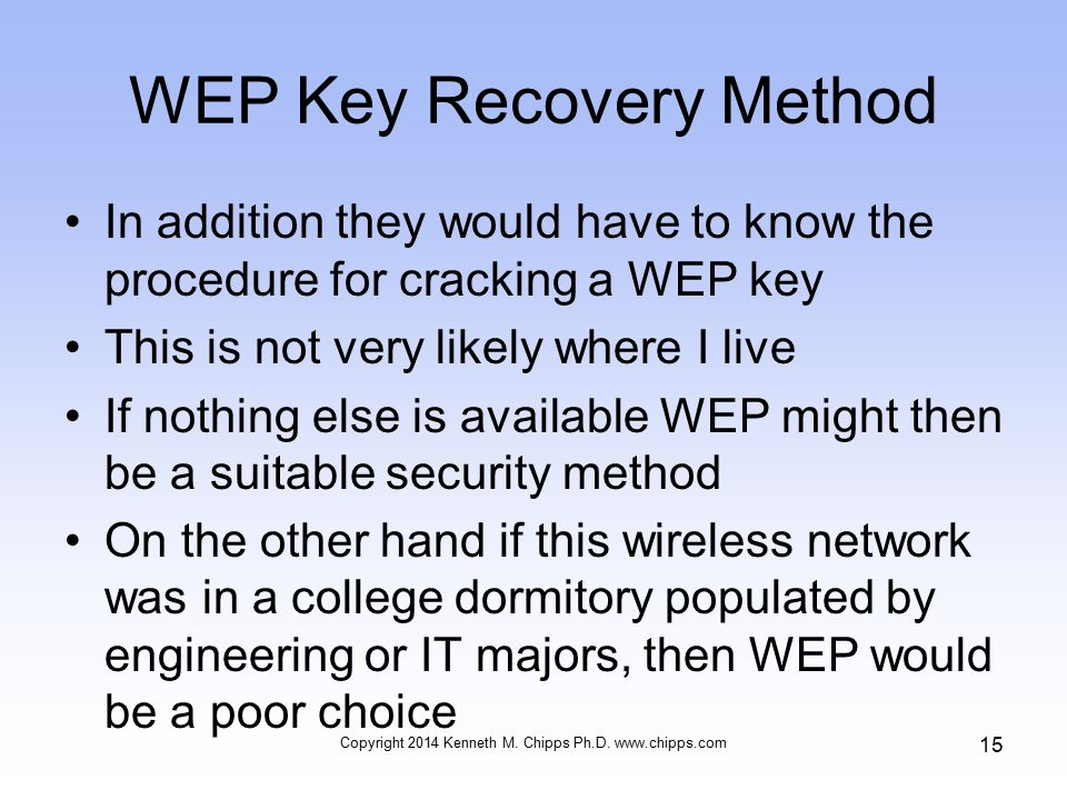 WEP Key Recovery Method In addition they would have to know the procedure for cracking a WEP key This is not very likely where I live If nothing else is available WEP might then be a suitable security method On the other hand if this wireless network was in a college dormitory populated by engineering or IT majors, then WEP would be a poor choice Copyright 2014 Kenneth M.
