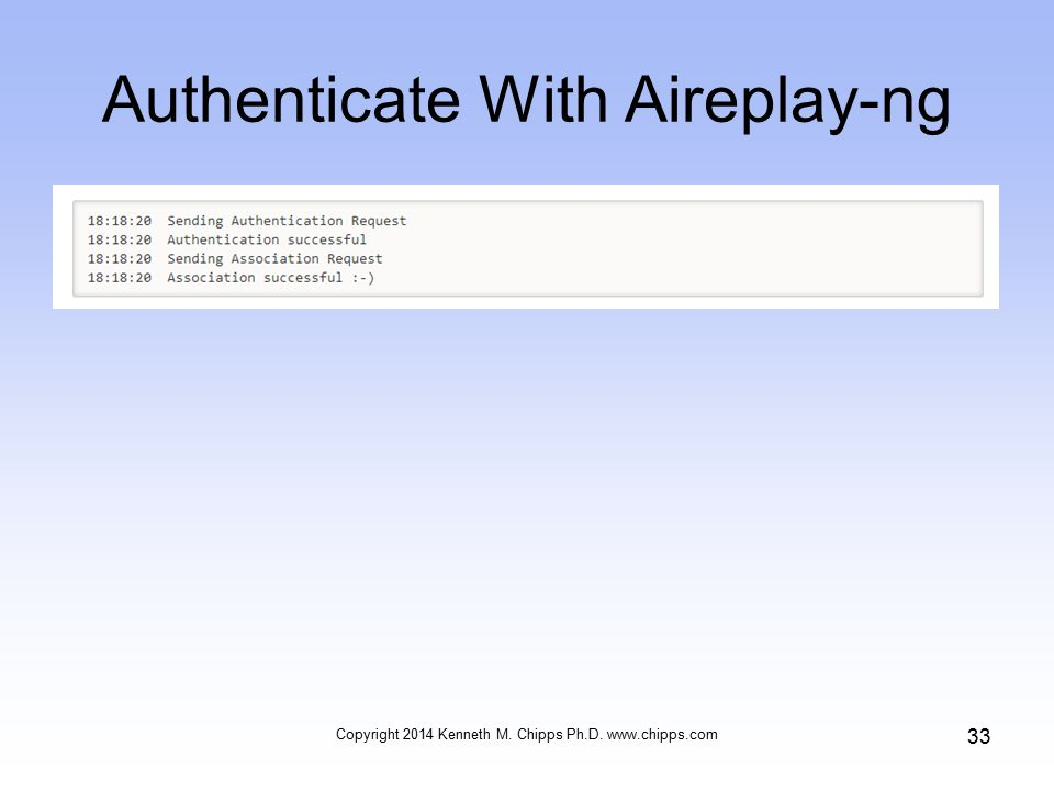 Authenticate With Aireplay-ng Copyright 2014 Kenneth M. Chipps Ph.D.   33