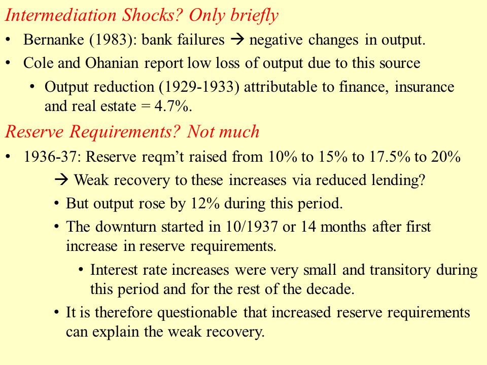 Intermediation Shocks. Only briefly Bernanke (1983): bank failures  negative changes in output.