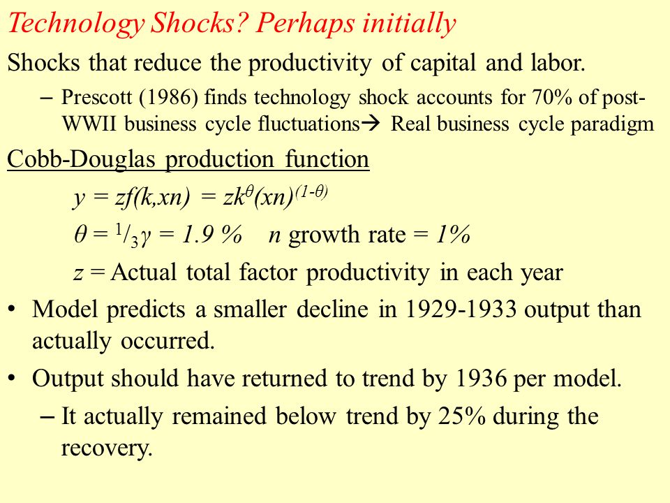 Technology Shocks. Perhaps initially Shocks that reduce the productivity of capital and labor.