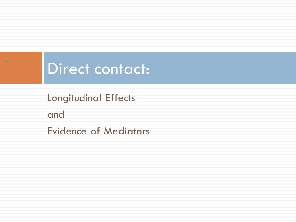 Longitudinal Effects and Evidence of Mediators Direct contact: 28