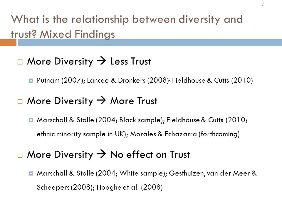 What is the relationship between diversity and trust.