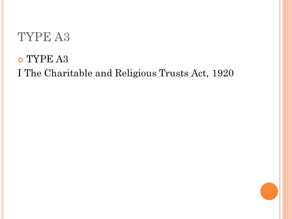 TYPE A3 I The Charitable and Religious Trusts Act, 1920