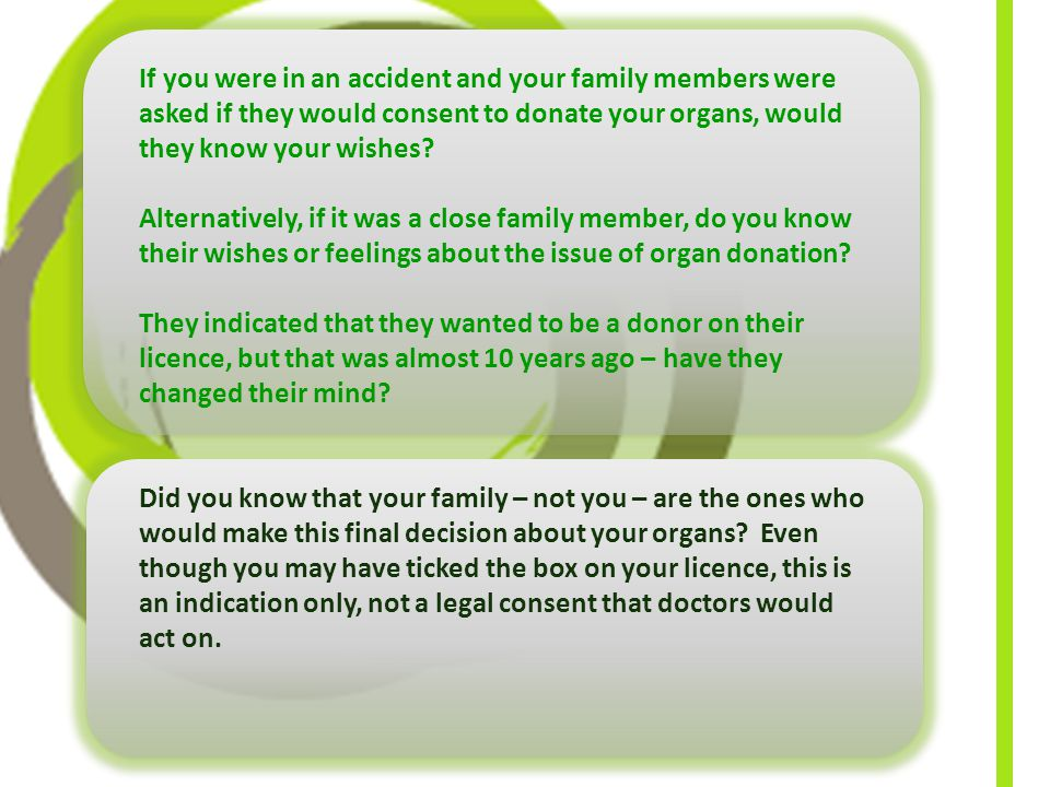 If you were in an accident and your family members were asked if they would consent to donate your organs, would they know your wishes.