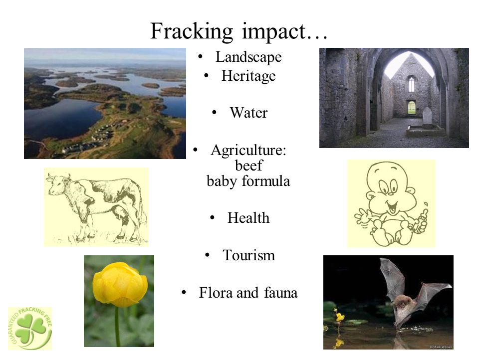 Fracking impact… Landscape Heritage Water Agriculture: beef baby formula Health Tourism Flora and fauna