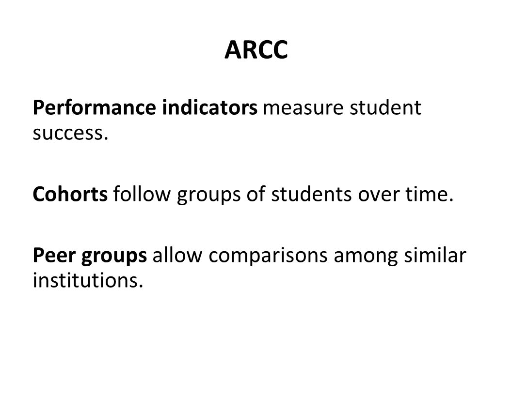 ARCC Performance indicators measure student success.