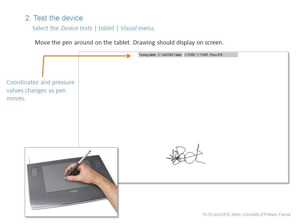 2. Test the device Select the Device tests | tablet | Visual menu.