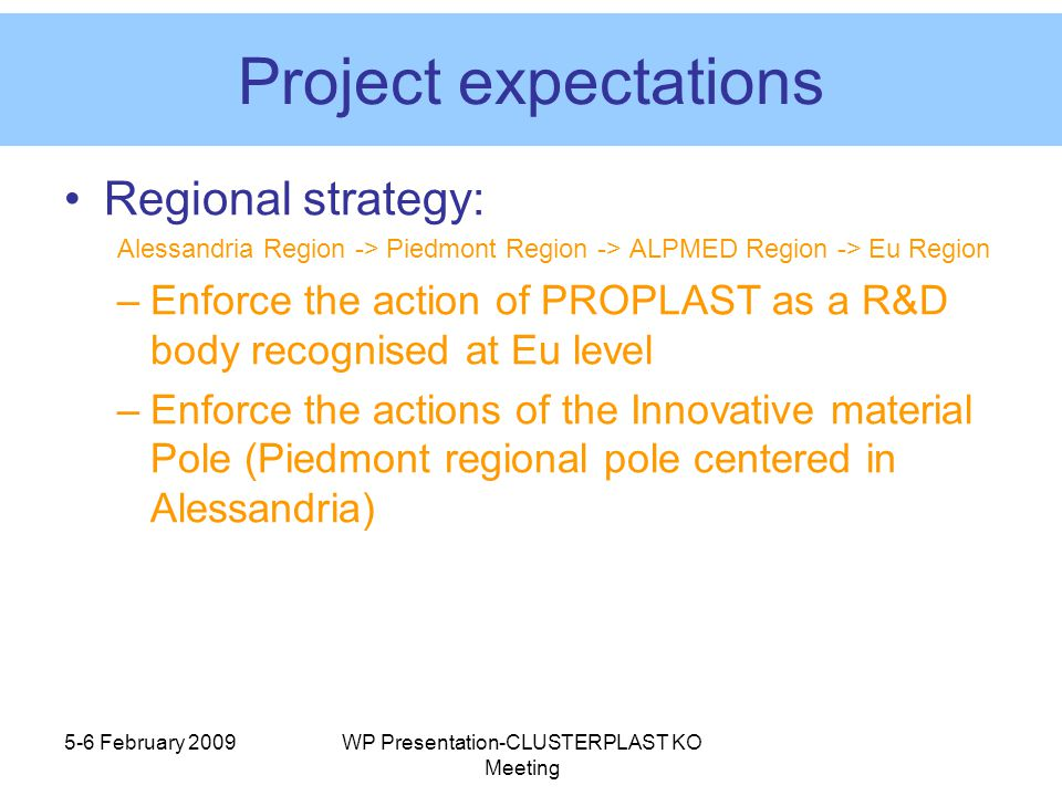 5-6 February 2009WP Presentation-CLUSTERPLAST KO Meeting Project expectations Regional strategy: Alessandria Region -> Piedmont Region -> ALPMED Region -> Eu Region –Enforce the action of PROPLAST as a R&D body recognised at Eu level –Enforce the actions of the Innovative material Pole (Piedmont regional pole centered in Alessandria)