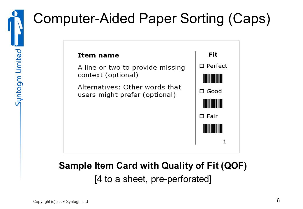 6 Computer-Aided Paper Sorting (Caps) Sample Item Card with Quality of Fit (QOF) [4 to a sheet, pre-perforated]