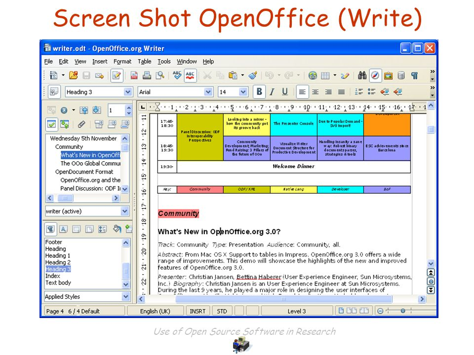 Use of Open Source Software in Research Screen Shot OpenOffice (Write)