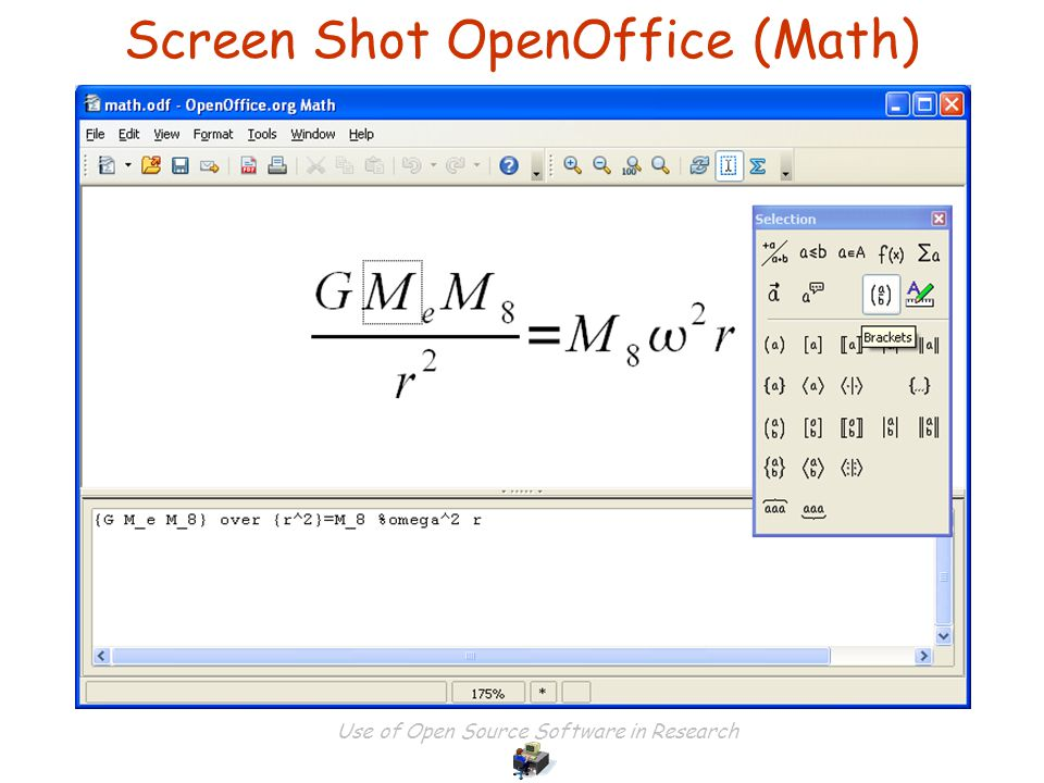 Use of Open Source Software in Research Screen Shot OpenOffice (Math)