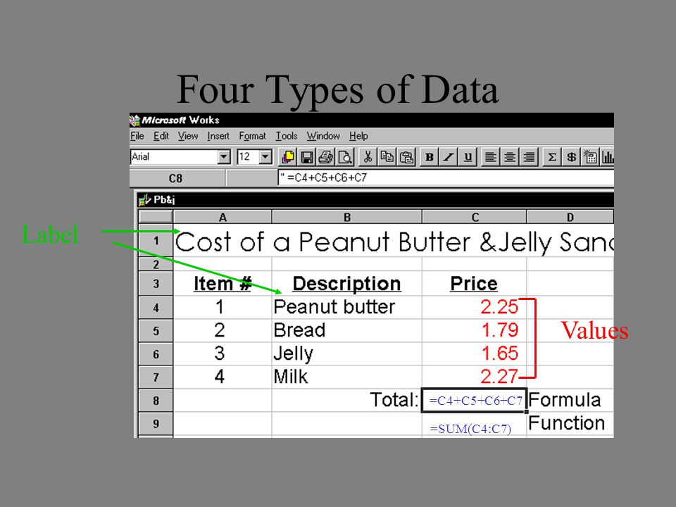 Four Types of Data Label Values =C4+C5+C6+C7 =SUM(C4:C7)